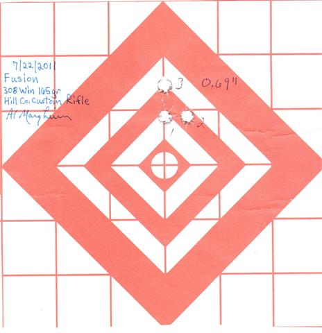 Three-shot 0.7″ group with Fusion 165 grain ammo