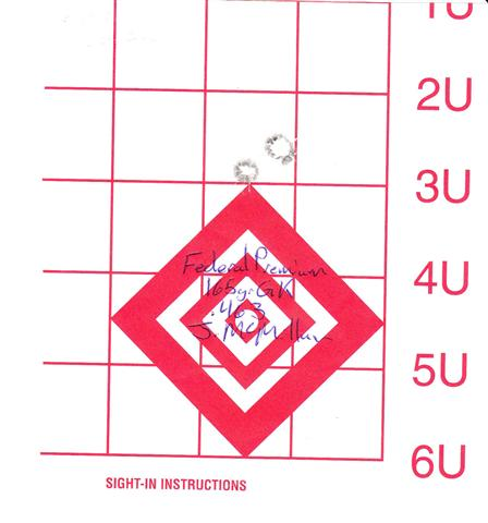 Three-shot 0.463″ group with Federal Premium 165 gr Game Kings