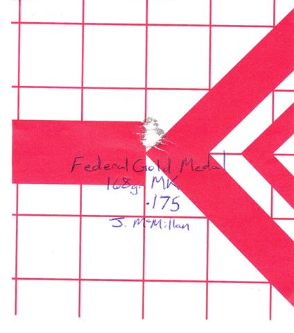 Three-shot 0.175″ group with Federal Gold Match 168 gr Match Kings